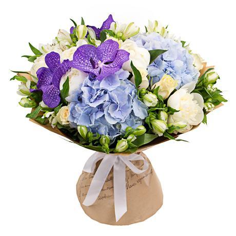 букеты с гортензией и орхидеями фото